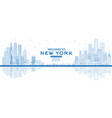 outline welcome to new york usa skyline with blue vector image