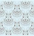 rabbit sketch seamless pattern hand drawn vector image