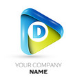 realistic letter d logo colorful triangle vector image vector image