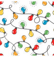 seamless pattern colorful christmas light vector image vector image