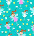 Seamless Pattern with Little Cute Tooth Fairy with vector image vector image