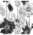 seamless pattern with spring tulip flowers vector image