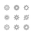 set line icons sun vector image
