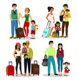 set of happy people travelling vector image vector image