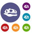skull of dinosaur icons set vector image vector image