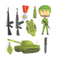 soldier and professional army weapon set for vector image vector image