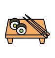 sushi oriental menu rolls sticks in board line and vector image