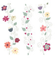 three colorful floral borders vector image