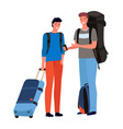tourists men or friends with backpacks and vector image vector image