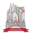 travel barcelona poster in linear style vector image vector image