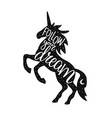 with unicorn silhouette grunge texture vector image vector image