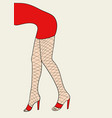 woman legs with fishnet stocking vector image