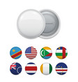 world country flags and white badge vector image vector image