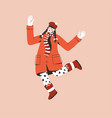 young girl in red coat jumping and spreading her vector image vector image