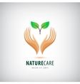 logo - hands holding leaves eco icon vector image