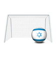 A ball near the net with the flag of Israel vector image vector image
