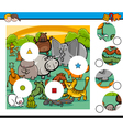 animals match pieces game vector image vector image