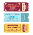 art gallery exhibition ticket cruise coupon set vector image