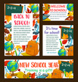 back to school education stationery posters vector image vector image