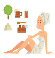 bath girl body washing face and bath taking shower vector image