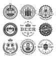 beer and brewery black and white emblems vector image