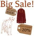 Big Sale with hunting dog sweatshirt vector image