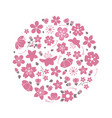 blossom flowers logo isolated on white background vector image