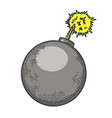 bomb with burning fuse sketch vector image vector image