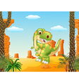 Cartoon dinosaur tyrannosaurus looks sideways vector image vector image