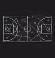chalkboard with basketball court and game strategy vector image