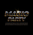 chic invitation magic party 3d black font vector image