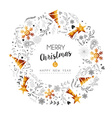 Christmas and New Year gold decoration wreath vector image