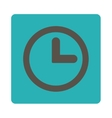 Clock flat grey and cyan colors rounded button vector image