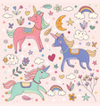 cute dreamy unicorns and rainbow vector image vector image
