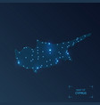 cyprus map with cities luminous dots - neon vector image vector image