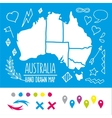 Doodle Australia travel map with pins and extras vector image