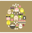 Easter holiday Flat Icons Set over light brown vector image vector image