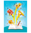 Education Characters Jump out Book Arts Program vector image vector image