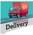 express delivery red truck background image vector image
