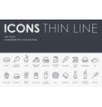 Fast Food Thin Line Icons vector image vector image