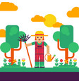 gardener with rake and watering can vector image