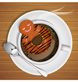 gingerbread with doughnut in cup of hot chocolate vector image vector image