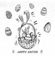 happy easter eggs on a basket line art retro style vector image