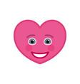 happy heart shaped funny emoticon icon vector image