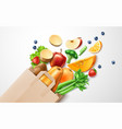 healthy food organic fruit in shopping bag vector image