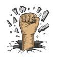 human fist crash wall color sketch vector image