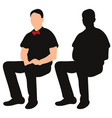isolated silhouette man sitting resting vector image vector image