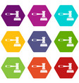 judge gavel icon set color hexahedron vector image vector image