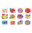 kids zone emblem colorful cartoon vector image vector image