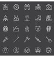 linear hiking icons vector image